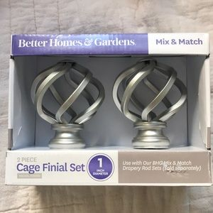BETTER HOMES & GARDEN 2Pc CAGE FINIAL SET NICKEL